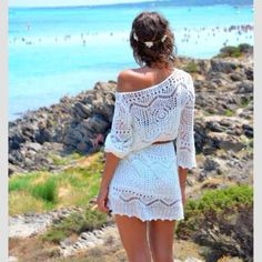 Gorgeous one shoulder lace mini dress white summer fashion clothing women style outfit apparel short Gloss Fashionista 2014 Fashion Trends, 2014 Trends, Fashion Ideas, Fashion Styles, Boho Chic, Look Fashion, Fashion Outfits, Dress Fashion, Street Fashion