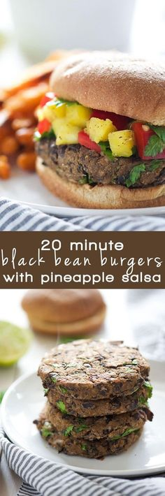 Take a bite out of these 20 Minute, homemade black bean burgers that come together with pantry items and topped with a sweet, pineapple salsa!