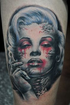 Horror Smoking Marilyn Monroe Pin Up Tattoo - Benjamin Laukis http://pinupgirlstattoos.com/horror-smoking-marilyn-monroe-pin-up-tattoo/