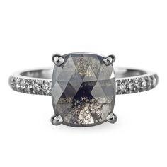 1.75 Carat Black Rose Cut Diamond Engagement Ring, 14k White Gold