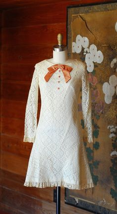 vintage 1960s dress / 60s lace and bow mod by honeytalkvintage
