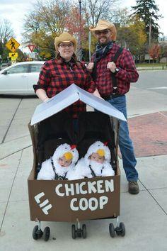 Halloween twin costumes with chicken coop stroller!