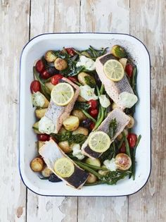 Roasted salmon & summer veg traybake from Jamie Oliver- can't really get easier than this to enjoy a nutritious seafood meal Tray Bake Recipes, Dinner Recipes, Cooking Recipes, Healthy Recipes, Jamie Oliver Salmon, Jamie Oliver Fish Recipes, Salmon Tray Bake, Fisher, Roasted Salmon