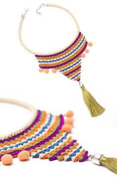 Bohemian Handmade Crochet Tassel Necklace,Tribal Ethnic Fringe Statement Jewelry