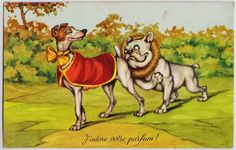 French Bulldog in love w/ Greyhound ? Whippet Lady Dog 1950s french artist pc