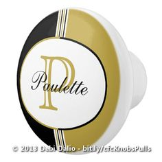 Personalize your drawers or cabinetry with this snazzy ceramic knob which features classic black, white, and antique gold stripes topped with an oval containing a customizable name and initial. http://www.zazzle.com/black_and_antique_gold_stripes_monogram_ceramic_knob-256119626423806191?rf=238083504576446517&tc=20161020_pint_SSoZ #monogram #hardware #graphicdesign #StudioDalio
