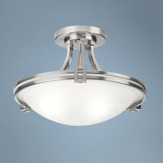 "Possini Euro Design Nickel 17"" Wide Ceiling Light Fixture  Lamp Plus $170 free shipping.  Takes two 100 w bulbs"