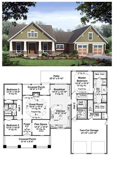 Fun And Eco-Helpful Solutions To Remodel Your Yard Cool House Plan Id: Total Living Area: 2067 Sq Ft. This Beautiful Craftsman Design Features All The Things That Make A House A Home. Three Over-Sized Bedrooms Are Complemented By Large Closets, A Bungalow House Plans, Craftsman Style House Plans, Ranch House Plans, Best House Plans, Country House Plans, Dream House Plans, House Floor Plans, 3 Bedroom Home Floor Plans, House Design Plans