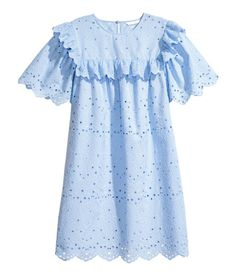 Check this out! Short-sleeved dress in woven cotton fabric with eyelet embroidery. Opening at back of neck with button, ruffled yoke at front and back continuing over shoulders, and scalloped trim at cuffs and hem. Unlined. - Visit hm.com to see more.