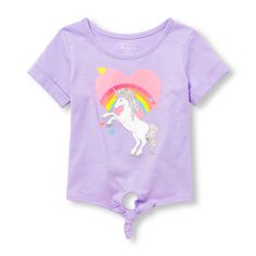 Baby Girls Toddler Active Glitter Graphic Tie-Front Top - Purple - The Children's Place