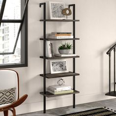 Our elegant bookcase has a minimalist style that can fit your home office or living room. The open-shelving structure will add visual space for your small apartment. It features easy-to-assemble design you can mount to any wall. Solid Wood Shelves, Metal Shelves, Open Shelving, Wall Shelves, Metal Bookcase, Etagere Bookcase, Ladder Bookcase, Bookshelves, Wood Ladder