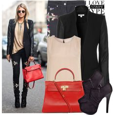 Okay there is no way I'm pulling off those jeans and those boots, exactly, but, I do love the nude underpinning and the red bag with the black staples.   Street style, created by anitalolonga on Polyvore.