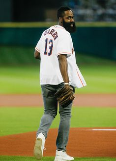James Harden Photos - James Harden of the Houston Rockets throws out the first pitch before the Houston Astros play the Los Angeles Angels of Anaheim at Minute Maid Park on September 2015 in Houston, Texas. - Los Angeles Angels of Anaheim v Houston Astros Basketball Shoes Kobe, Houston Basketball, Indiana Basketball, Basketball Uniforms, Houston Rockets, Houston Astros, James Hardin, Mr Beard, Nba Stephen Curry