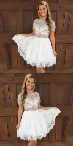 Outlet Luxurious Short Prom Dresses Luxurious Two Piece White Lace Short Homecoming Dress Prom Dress White Prom Dress Lace Lace White Homecoming Dresses Short Prom Dress Homecoming Dresses Prom Dresses 2019 Backless Homecoming Dresses, Two Piece Homecoming Dress, Prom Dresses Two Piece, Lace Party Dresses, Dresses Short, Sweet 16 Dresses, Lace Dress, Evening Dresses, White Dress