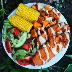Raw Till 4 - Dinner (Baked Sweet Potato & Pumpkin With Tahini Dressing, Salad And Steamed Corn.)