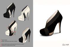 from sketch to runway look by anna miminoshvili, via Behance Shoe Art, Pumps, Heels, Fashion Sketches, Christian Louboutin, Anna, Runway, Behance, Drawing