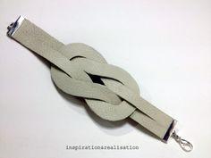 Tutorial: The Illusion Knot Cuff.  http://4.bp.blogspot.com/-ViBuF38_TJs/UU2-B4oqbaI/AAAAAAAAG2M/sG0HKJvF-O4/s1600/inspiration&realisation_diy_knot_cuff_nautical_leather.JPG http://www.fashiongonerogue.com/wp-content/uploads/2013/03/ELLE-135-Moda-Santi-2.jpg