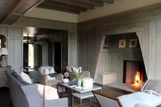 fireplace seats - Craftsman lodge, Linville, NC. Ruard Veltman Architecture. Cindy Smith decor.