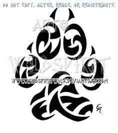 Wolf Paw Print Tribal Tattoo by WildSpiritWolf.deviantart.com
