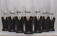 Painted beer glasses for the groomsmen!