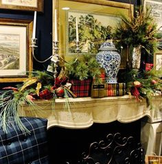 Chinoiserie Chic: Tartan and Chinoiserie, fireplace mantel, vignette, blue and white ginger jar and tartan plaid, christmas garland, holiday home decor