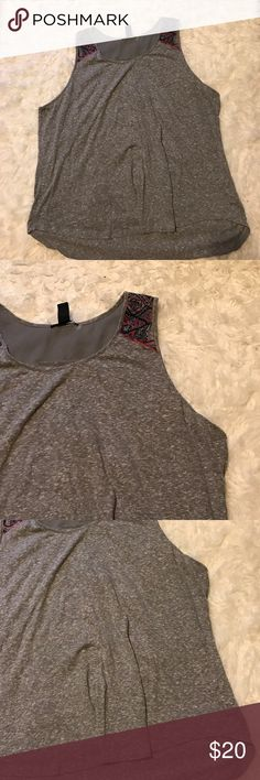 Plus size tank Size 2x. Heather gray tank. With embroidered details at shoulders. Tops