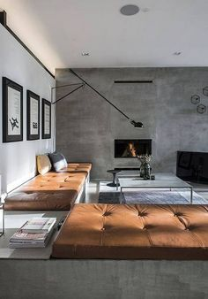 Concrete Living Room Modern Interior Condo Concrete