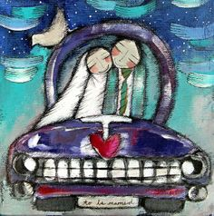 Love in the car Olivia Artist, Figure Painting, Painting & Drawing, Funny Paintings, South African Artists, Cute Cars, Naive Art, People Art, Painting Inspiration