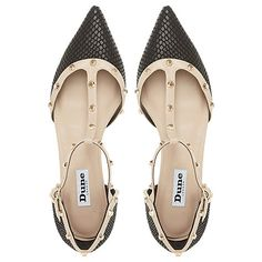 c74af5e33c Buy Dune Heti Two Part Studded Pumps Online at johnlewis.com Black Flats  Shoes,