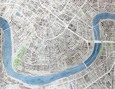 New Orleans City Map by Summit Ridge - http://summitridgestudio.com/