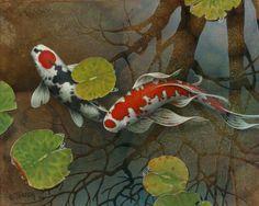 Tery Gilecki - A Splash of Sky - two koi swimming