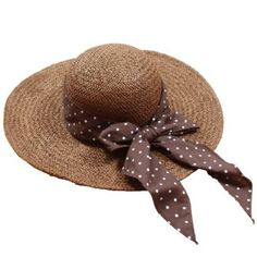 Ladies Summer Beach Hat, Wide Brim, Straw Brown Polka Dot Ribbon, Sun Protection, Gift for Lady Dealkiller Hat. $42.99