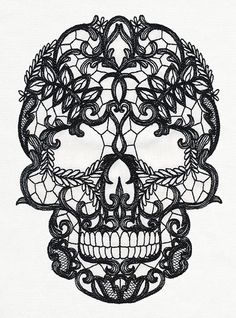 Lacy Skull Embroidered Decorative Absorbent by EmbroideredbySue