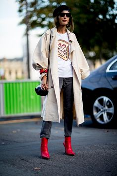 Paris Fashion Week Street Style Spring 2018 Day 4 // that red bootie trend