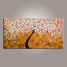 Art on Sale Flower Tree Painting Abstract Art Painting Art on Canvas Tree of Life Art Contemporary Art Tree Of Life Painting, Tree Of Life Art, Oil Painting Flowers, Hand Painting Art, Painting Canvas, Texture Painting, Flower Paintings, Tree Paintings, Modern Paintings