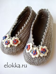 Flowers Womens Flats Crochet Slippers