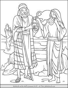 Rebekah at the Well Bible Coloring Page.