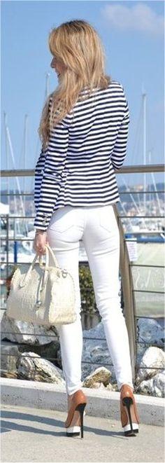 White jeans and striped blazer