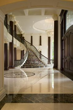 35 Grand Staircase Inspiration - Space for staircase is decided based on the whole size of the house. Yes, tiling the staircase is a remarkable method to give them a great appearance. by Joey Home Interior Design, Interior Architecture, Interior Decorating, Stairs Architecture, Grand Staircase, Staircase Design, Grand Foyer, House Entrance, Entrance Halls