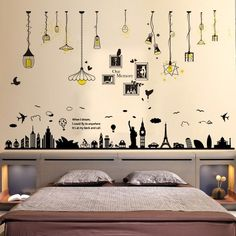 Hit the lights vintage style! These fun and funky wall decals light up your humorous side with a cool colorful backdrop to brighten up your living or office spaces. Wall Painting Living Room, Wall Painting Decor, Mural Wall Art, Room Wall Decor, Living Room Wall Stickers, Office Wall Decals, Simple Wall Paintings, Creative Wall Painting, Creative Walls