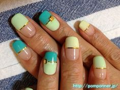 Colorful with yellow and green French nail straight   黄色やグリーンを使ったカラフルな、まっすぐフレンチ