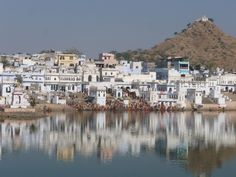 Pilgrims bathing in Pushkar Lake, with the Savitri temple [ on the hill-top ] in the background, Pushkar, Rajasthan, India