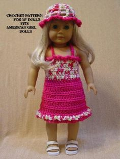 $6.99~Crochet Pattern HL11 for 18 inch Dolls Dress Shrug Hat Fits American Girl Dolls | eBay
