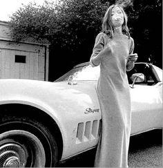 """""""Joan Didion white Stingray Corvette, with cigarette,"""" 1970"""