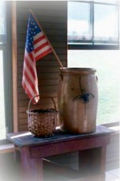 Primitive Americana - Basket Crock and Flag