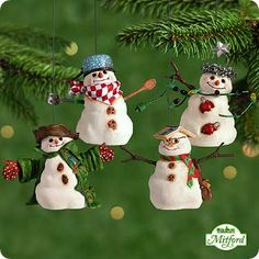 2001 Mitford Snowmen Jubilee-Set Of 4  Hallmark Ornament at Ornament Mall
