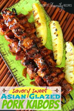 Savory Sweet Asian Glazed Pork Kabobs - a little savory, a little tangy, a little sweet, and a whole lot delicious!  These kabobs are a summer-time grilling hit.  The marinade is a simple six ingredients, and gives these kabobs such fantastic flavor.  Plus, a twist: the author suggests serving with a side of grilled pineapple. I found it worked great to cut the pineapple into lg chunks and skewer it with the pork, as part of the kabobs.  Either way? Fantastic!