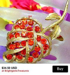 """CORO Brooch Pin Designer Signed Orange Rhinestones Leaf Design Gold Metal 3"""" BIG Vintage"""