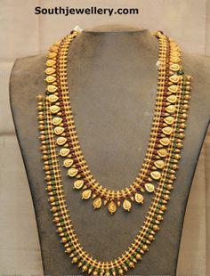 #Lakshmi # kaasu mala with Ruby Emerald studded ball long chain # haram