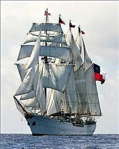 """Chile's four-masted steel-hulled barquentine """"Esmeralda"""". Launched in she serves as a Chilean Navy training ship. Chile, Grand Voile, Moby Dick, Old Sailing Ships, Naval, Yacht Boat, Tug Boats, Speed Boats, Submarines"""